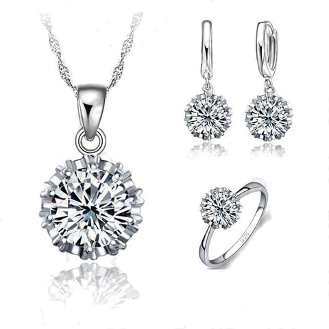 925 Sterling Silver Big Stone CZ Necklace Earring Ring Jewelry Sets
