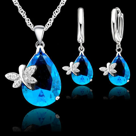 925 Sterling Silver Crystal Butterfly Drop CZ Pendant Necklace LeverBack Hoop Earrings Jewelry Sets