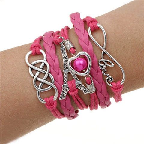 Charm bracelet Love Heart Eiffel Tower Friendship multi-layer leather Double infinite