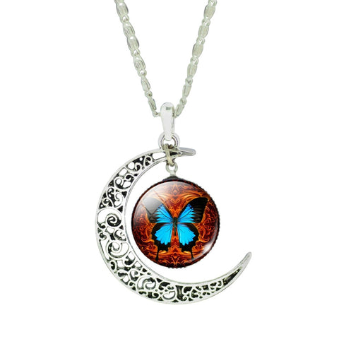 Fashion Moon Butterfly Glass Cabochon Statement Pendant Necklace for Women