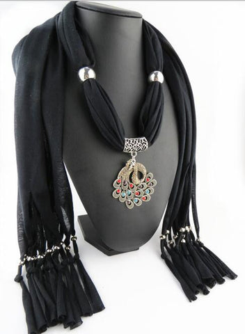 Peacock Pendant Polyester Tassel Scarves Necklace for Women