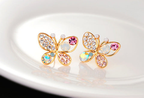 New Elegant Crystal Butterfly Stud Earrings