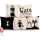 New Decorative Black And White Cat Throw Pillows Cushion Covers for Sofas Home Decor