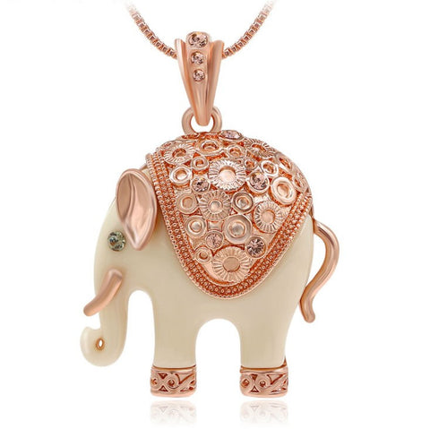 New Trendy Unique Decoration Crystal Elephant Pendant Necklace