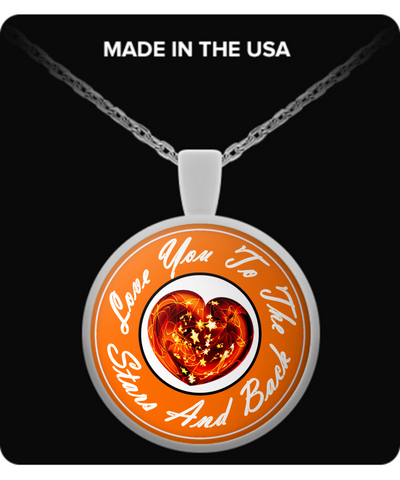 Love You Heart Pendant - Orange!