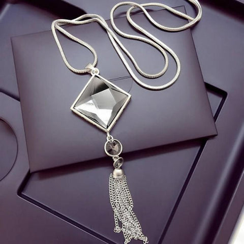 Crystal And Tassel Pendant Necklace