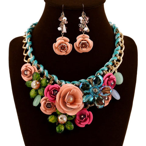 Latest Fashion Unique Resin Crystal Flower Statement Jewelry Set