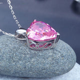 New Elegant Very High Quality Pink Heart Pendant Necklace