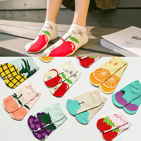 New Style Colorful Fruits And Vegetables Cozy Low Cut Socks