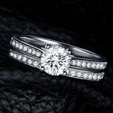 New Hot Beautiful Elegant Set of 2 pieces Engagement Crystal Rings
