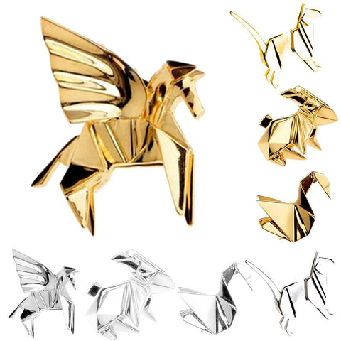 New Fashion Geometric Origami Unisex 3D Animal Brooch
