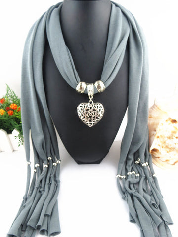 Women Ladies Jewellery Heart Gemstone Necklace Scarf Stole Charm Pendant Accessories