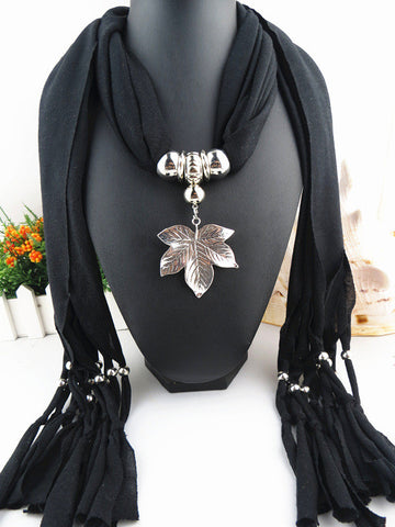 New Arrival Maple Leaves Pendant Long Scarf Necklace for Women