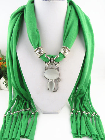 Lovely Cute Agate Cat Pendant Polyester Multilayer Tassel Scarves for Women