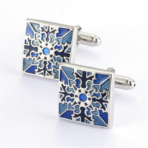 New Hot Stamping Style Square Enamel Stud Cuff Links For Men