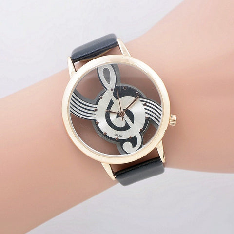 New Fashion Unique Hollow Musical Note Dial Watch