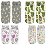 New Creative Colorful Cute Plant and Animal Print Low Cut Socks