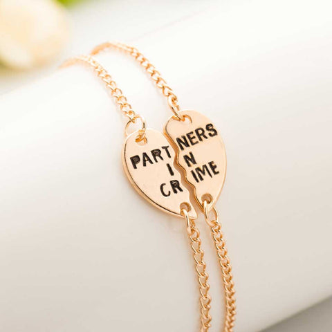New Hot Style Connecting Heart Partners In Crime Best Friend Bracelet