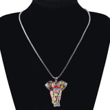 New Trendy Statement Enamel Elephant Pendant Necklace