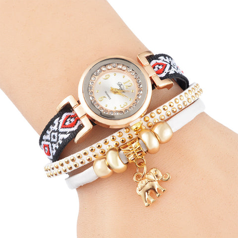 New Hot Fashion Elephant Pendant Bracelet Watch Wrist Watch