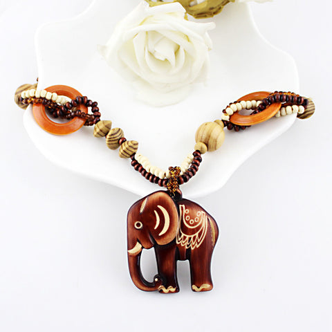 Wood Bead Hand Made Elephant Pendant Necklace