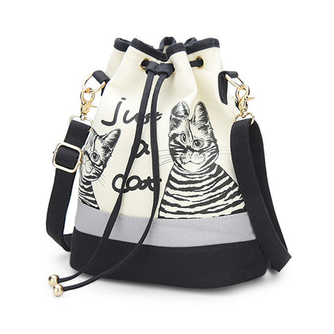 New Trendy Cats Drawstring Canvas Bag Back Pack And Cross Body Bag Handbag