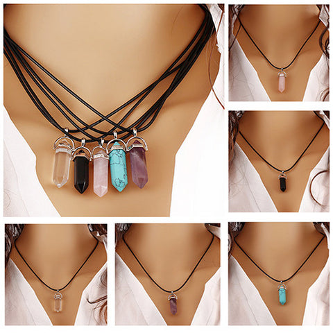 New Best Quality Natural Rock Pendant Rope Necklace