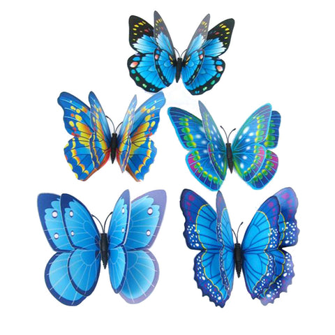 New Beautiful 12 piece lot 3D Colorful Butterfly Double Layer Wall Sticker