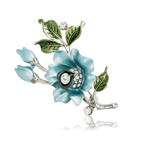 New Fashion Enamel Crystal Rose Brooch
