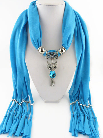Trendy Unique Design Solid Cute Fox Pendant Long Tassel Polyester Scarves