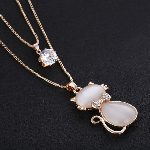 New Fashion Elegant Crystal Cat In Bow Tie Double Chain Pendant Necklace