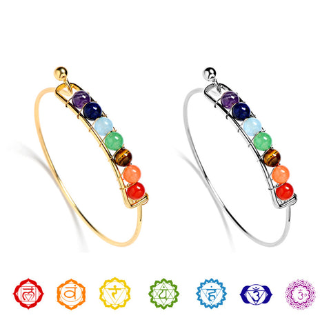 New 7 Chakra Bangle Beads Bracelet