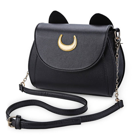 New Cute Cat Ears Half Moon Half Chain Strap Messenger Bag Cross Body Bag Handbag