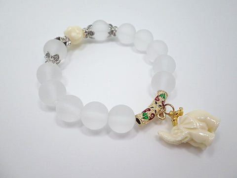 Natural matte crystal bracelet with Elephant Dangle