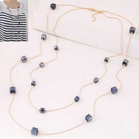 New Stylish Square Crystal Layered Statement Necklace