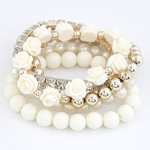 New Fashion Combination Rose Beads And Round Beads Bracelets
