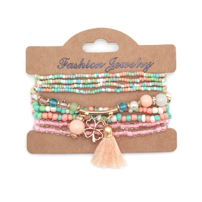 New Colorful Beads Set of 9  Bracelets With Charms