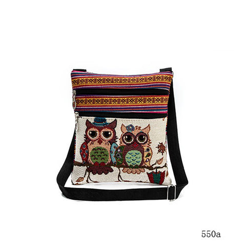 New Cute Owl Pattern Double Pocket Mini Messenger Canvas Bag Cross Body Bag Handbag