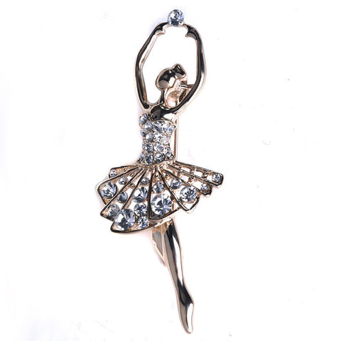 New Trendy Beautiful Ballet Dancer Crystal Brooch