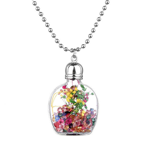 New Fashion Unique Rhinestone, Flower In Glass Bottle Pendant Necklace