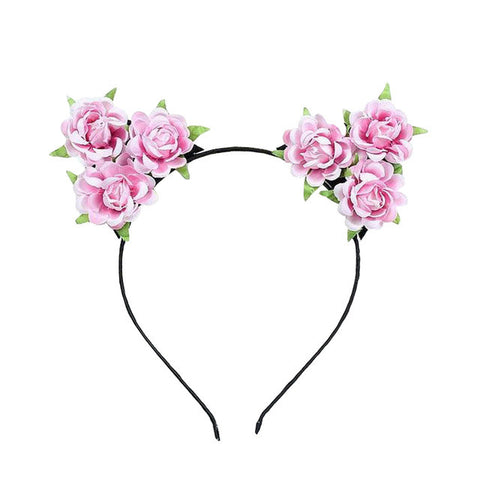 New Cute Colorful Floral Cat Ears Headband Hairband