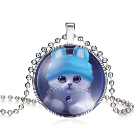 New Super Cute Lovely Cat With A Hat Long Pendant Necklace