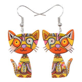 Cute Cat Dangle Acrylic Earrings Fashion Jewelry Accessories