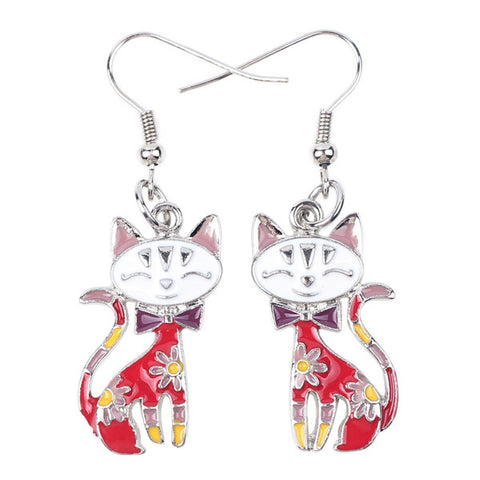 Drop Earrings Alloy Enamel Dangle Cat Earrings For Women