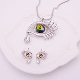 Unique Eye With Teardrop Crystal Jewelry Set