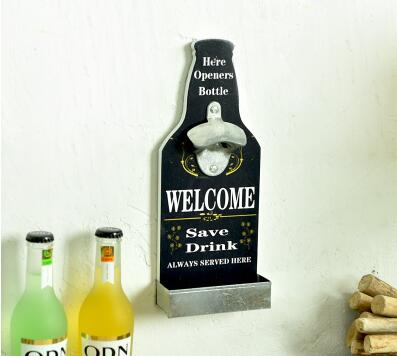 New Fun Beer Shaped Bottle Lid Opener, Wall Mounted Wood Plaque Bottle Openers and Cap Catcher Kitchen Tool