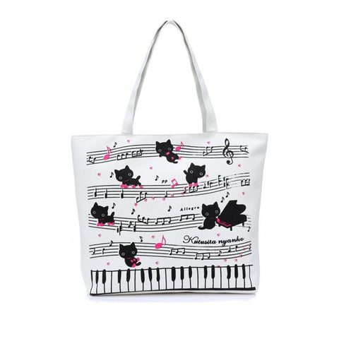 New Cute Cat and Piano Canvas Bag Shoulder Bag Beach Bag Handbag