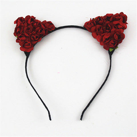 New Cute Cat Ears Flower Headband Hairband Hair Accessories
