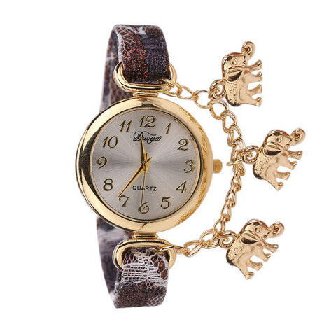 New Unique Colors and Creative Pattern Strap Elephant Pendant Watch Wrist Watch