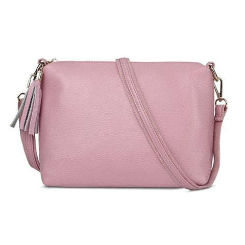 New High Quality Soft Color Tassel Zipper Messenger Bag Shoulder Bag Handbag